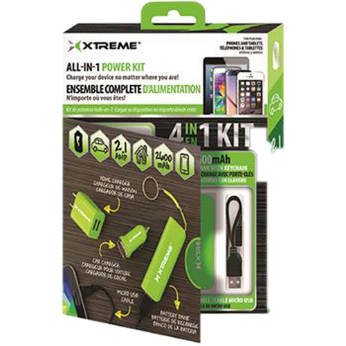 "Xtreme Cables All-in-1 Wall / Car Power Charging Kit with 8"" Micro-USB Cable (Green)"
