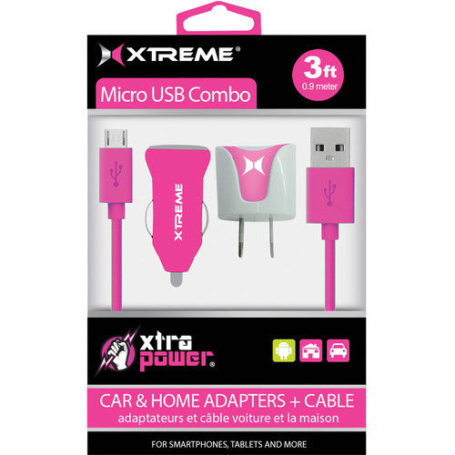 Xtreme Cables Micro USB Home and Car Charging Kit (Pink)