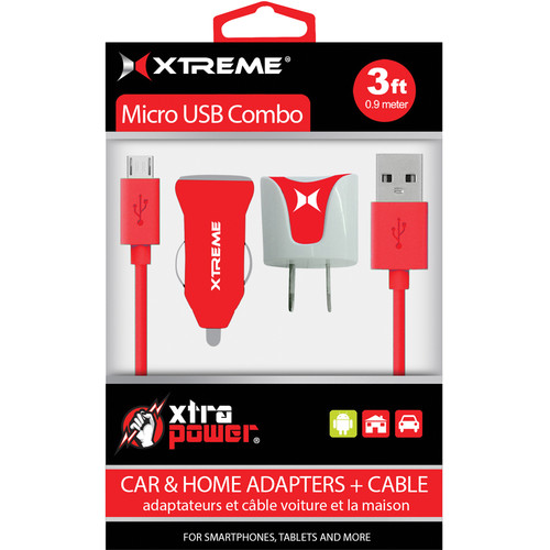 Xtreme Cables Micro USB Home and Car Charging Kit (Red)