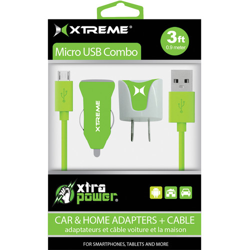 Xtreme Cables Micro USB Home and Car Charging Kit (Green)