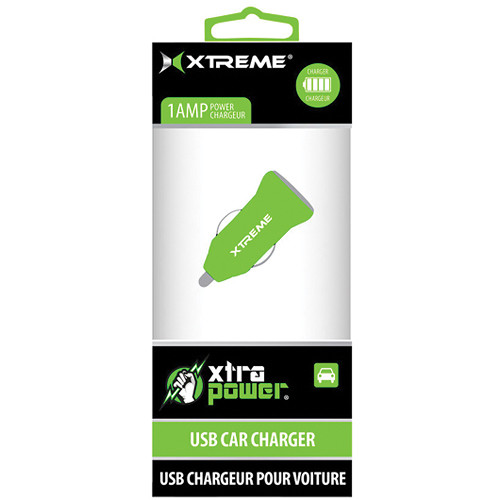 Xtreme Cables 1-Port 1A USB Car Charger (Green)