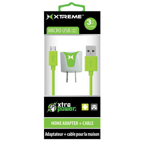 Xtreme Cables 1-Port 1A USB Home Charger with 3' Micro-USB Cable (Green)