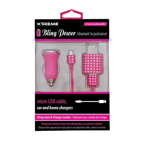 Xtreme Cables Bling Micro-USB Sync and Charge Cable with Car/Home Charger (Pink, 3')