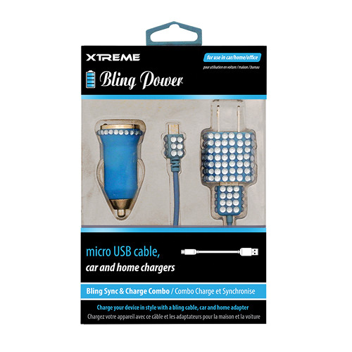 Xtreme Cables Bling Micro-USB Sync and Charge Cable with Car/Home Charger (Blue, 3')
