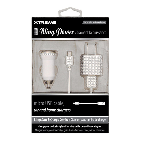 Xtreme Cables Bling Micro-USB Sync and Charge Cable with Car/Home Charger (White, 3')