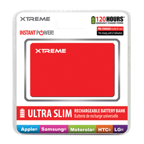 Xtreme Cables Ultra-Thin Power Card Battery Bank (Red)