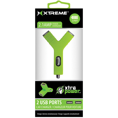 Xtreme Cables 2.1A Dual Port USB Car Charger (Green)