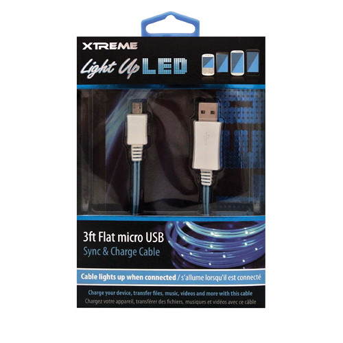 Xtreme Cables Micro-USB Light Up LED Sync and Charge Cable (Blue, 3')