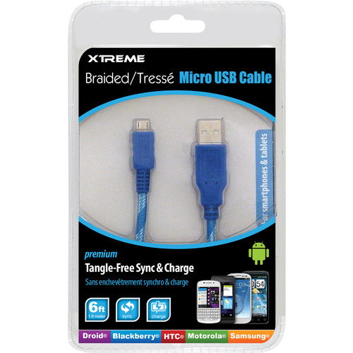 Xtreme Cables Micro USB 2.0 Sync and Charge Cable (6' / Blue & White)