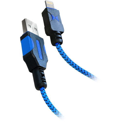 Xtreme Cables Tough Series USB Type-A Male to Lightning Male Cable (6', Black/Blue)