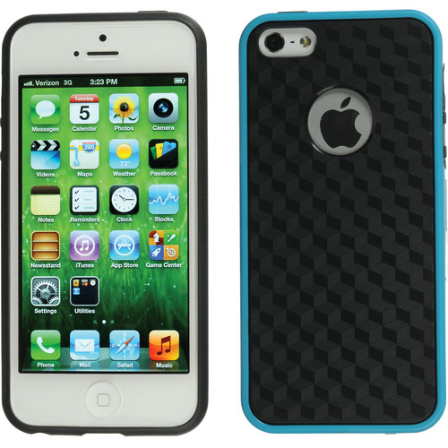 Xuma Patterned Flex Case for iPhone 5, 5s & SE (Blue Edges / Black Rear)