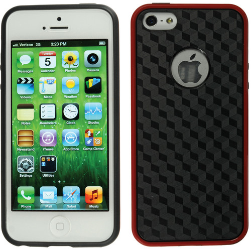 Xuma Patterned Flex Case for iPhone 5, 5s & SE (Red Edges / Black Rear)