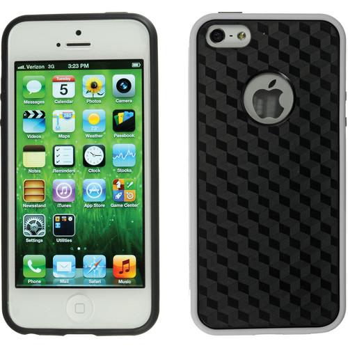 Xuma Patterned Flex Case for iPhone 5, 5s & SE (White Edges / Black Rear)