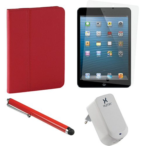 Xuma Deluxe Folio Case for iPad mini and Accessories Kit (Red)