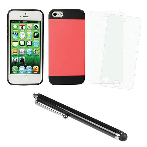 Xuma Hybrid Case for iPhone 5 & 5s with Accessories Kit (Pink)