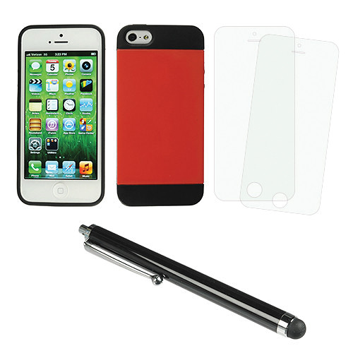 Xuma Hybrid Case for iPhone 5 & 5s with Accessories Kit (Red)