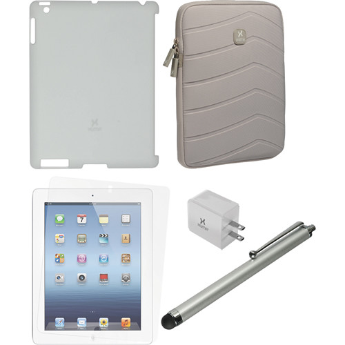 Xuma Smart Cover Compatible Light Gray Snap-on Case, Gray Neoprene Sleeve, Screen Protector & Silver Stylus Kit for iPad 2nd, 3rd, 4th Gen