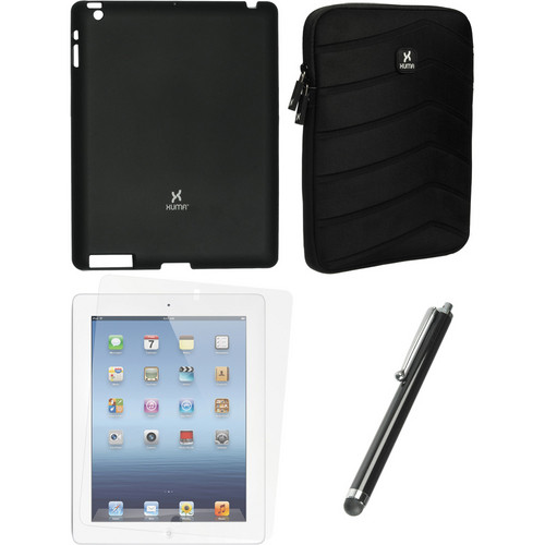 Xuma Black Snap-on Case, Neoprene Sleeve, Screen Protector & Stylus Kit for iPad 2nd & 3rd Gen