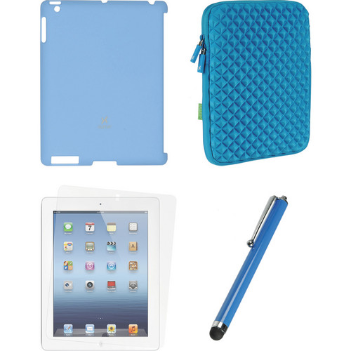 Xuma Smart Cover Compatible Blue Snap-on Case, Blue Neoprene Sleeve, Screen Protector & Blue Stylus Kit for iPad 2nd, 3rd, 4th Gen