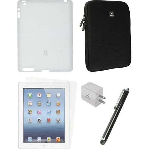 Xuma Clear Snap-on Case, Neoprene Sleeve, Screen Protector & Stylus Kit for iPad 2nd & 3rd Gen
