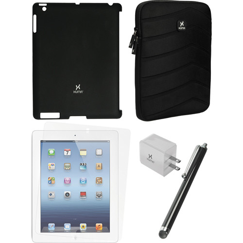 Xuma Smart Cover Compatible Black Snap-on Case, Black Neoprene Sleeve, Screen Protector & Black Stylus Kit for iPad 2nd, 3rd, 4th Gen
