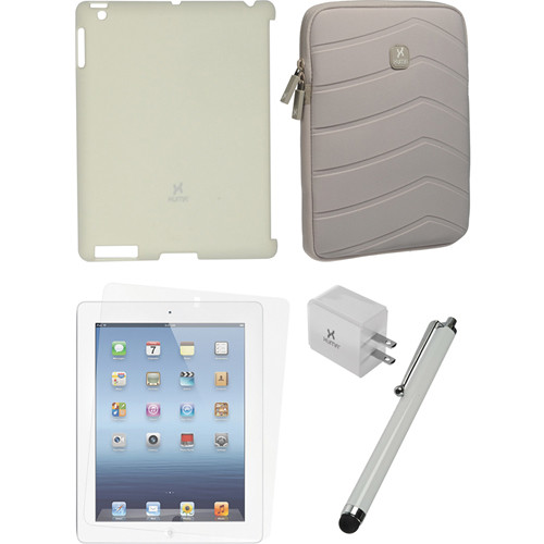 Xuma Smart Cover Compatible Cream Snap-on Case, Gray Neoprene Sleeve, Screen Protector & White Stylus Kit for iPad 2nd, 3rd, 4th Gen