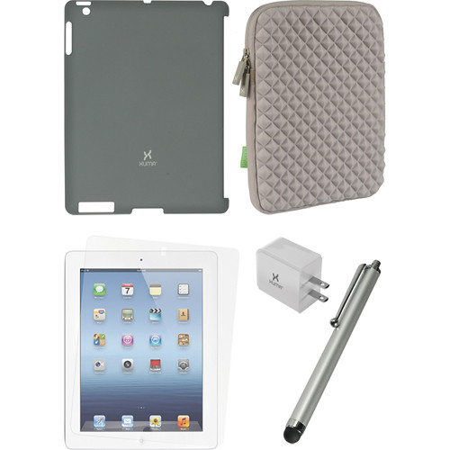 Xuma Smart Cover Compatible Dark Gray Snap-on Case, Gray Neoprene Sleeve, Screen Protector & Silver Stylus Kit for iPad 2nd, 3rd, 4th Gen