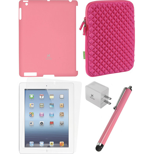 Xuma Smart Cover Compatible Pink Snap-on Case, Pink Neoprene Sleeve, Screen Protector & Pink Stylus Kit for iPad 2nd, 3rd, 4th Gen