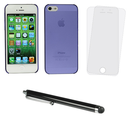 Xuma Purple Ultra-Slim Snap-on Case for iPhone 5/5s with Stylus and Screen Protectors Kit