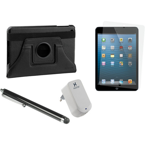 Xuma Rotatable Folio Case for iPad mini with Accessories Kit (Black, European)