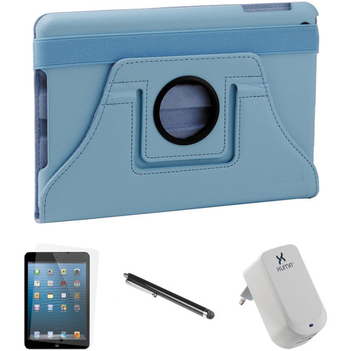 Xuma Rotatable Folio Case for iPad mini with Accessories Kit (Blue, European)