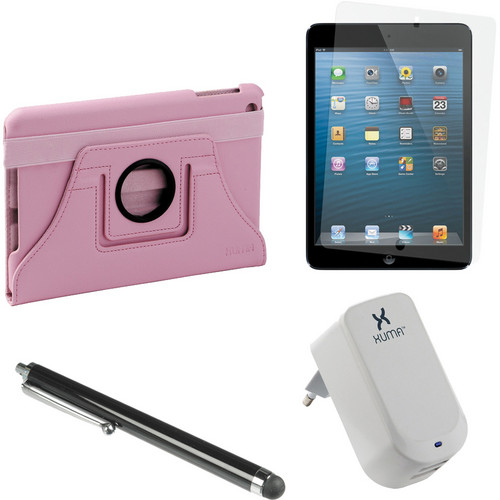Xuma Rotatable Folio Case for iPad mini with Accessories Kit (Pink, European)