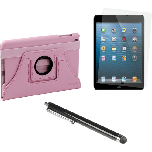 Xuma Rotatable Folio Case for iPad mini with Accessories Kit (Pink)