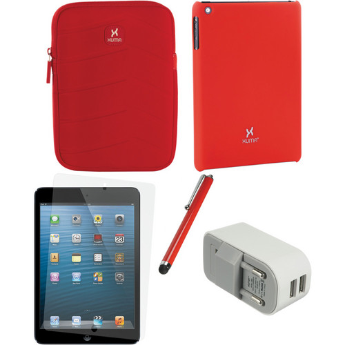Xuma Case and Sleeve with Accessories Kit for iPad mini (European, Red)