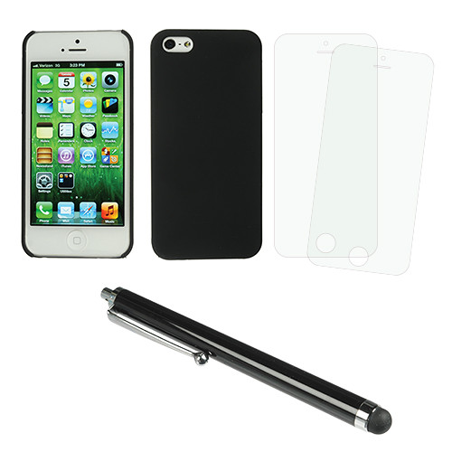 Xuma Snap-On Case for iPhone 5 & 5s with Accessories Kit (Black)