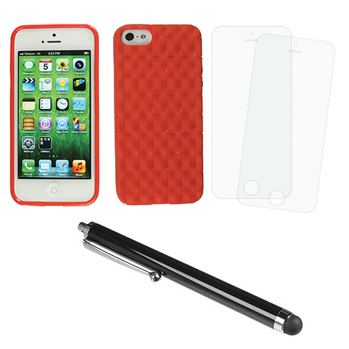 Xuma Textured Flex Case for iPhone 5 & 5S with Accessories Kit (Red)