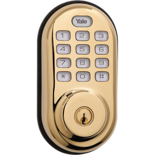 Yale Push Button Deadbolt Standalone (Bright Brass)