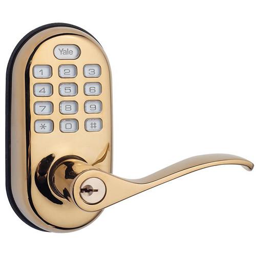 Yale YRL210 Push-Button Keyless Entry Lever Lock (Polished Brass)