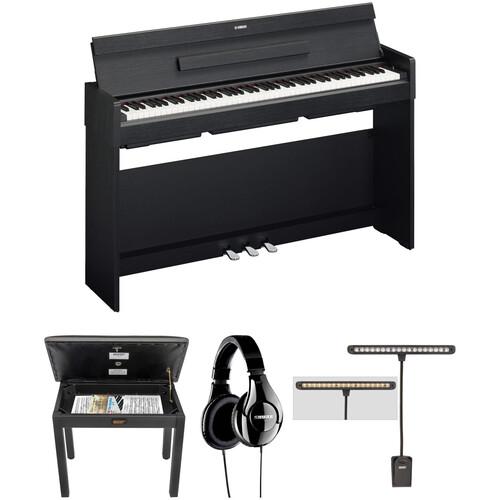 Yamaha Arius YDP-S34 Digital Piano Kit with Bench, Headphones, and LED Clip Light (Black Walnut)