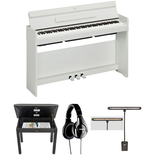 Yamaha Arius YDP-S34 Digital Piano Kit with Bench, Headphones, and LED Clip Light (White Walnut)