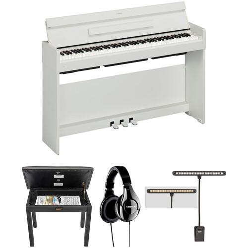 Yamaha Arius YDP-S34 Digital Piano Kit with Bench, Headphones, and LED Clip Light (White Walnut)