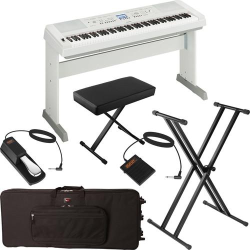 yamaha dgx 650 portable grand digital piano stage bundle white. Black Bedroom Furniture Sets. Home Design Ideas