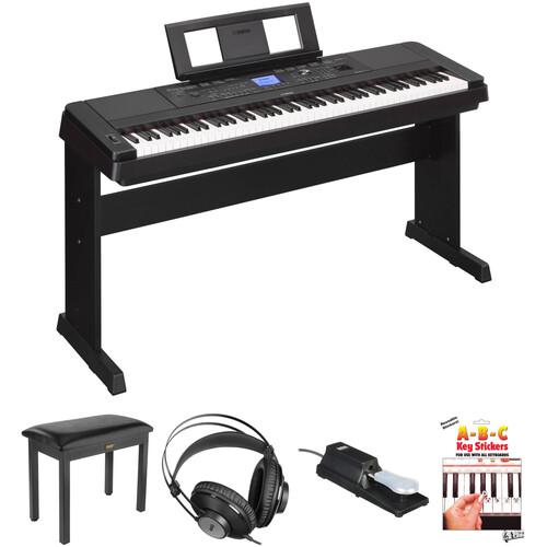 yamaha dgx 660 88 key digital piano kit with bench pedal. Black Bedroom Furniture Sets. Home Design Ideas