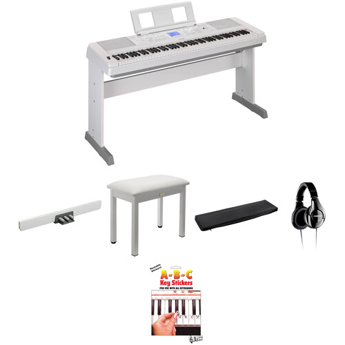 Yamaha DGX-660 Home/Studio Kit with Pedals, Bench, and Studio Headphones (White)