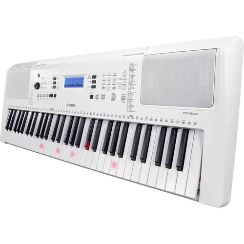 Yamaha - EZ-300 Lighted 61-Key Portable Keyboard (White)