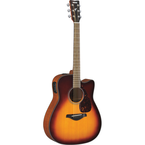 Yamaha FGX700SC Solid-Top Acoustic/Electric Cutaway Guitar (Brown Sunburst)