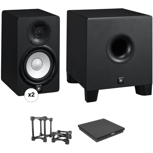 Yamaha HS5 Powered Studio Monitors and HS8S Subwoofer with Isolation Stands Kit