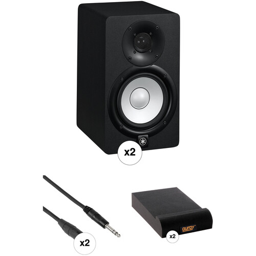 Yamaha HS5 Powered Studio Monitors with Cables and Isolation Pads Kit
