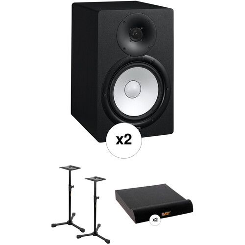 Yamaha HS8 Powered Studio Monitors with Stands and Isolation Pads Kit
