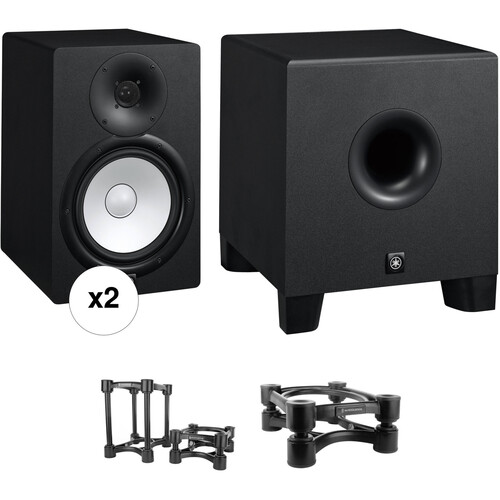 Yamaha HS8 Powered Studio Monitors and HS8S Subwoofer with Isolation Stands Kit